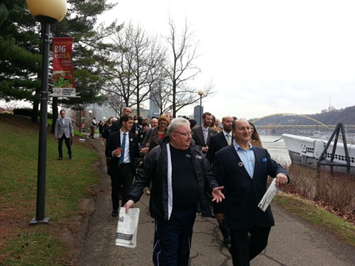 Teamster Joe Molinero and Allegheny County Councilor and United Steelworkers' rep John DeFazio, and other city and county leaders, walked alongside Rivers Casino employees this morning.