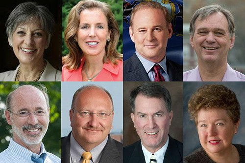 From top left: Allyson Schwartz, Katie McGinty, Rob McCord, John Hanger, Tom Wolf, Ed Pawlowski, Max Myers and Jo Ellen Litz